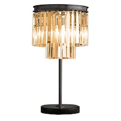 Restoration Revolution Odeon 3 Light Clear Glass Fringe Table Lamp In Polished Nickel Finish