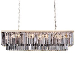 Restoration Revolution Odeon 12 Light Silver Shade Glass Chandelier In Polished Nickel
