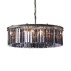 Restoration Revolution Rhys 8 Light Silver Shade Grey Glass Prism Chandelier In Polished Nickel Finish
