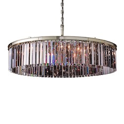 Restoration Revolution Rhys 10 Light Silver Shade Grey Glass Prism Chandelier In Polished Nickel Finish