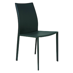 Nuevo Dark Grey Leather Sienna Dining Chair