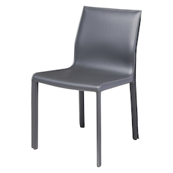 Nuevo Dark Grey Leather Colter Dining Chair