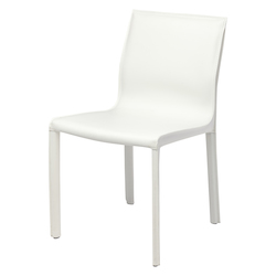 Nuevo White Leather Colter Dining Chair