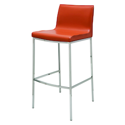 Nuevo Ochre Leather Colter Bar Stool