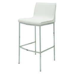 Nuevo White Leather Colter Bar Stool