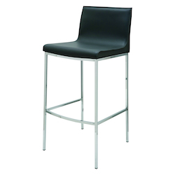 Nuevo Dark Grey Leather Colter Counter Stool
