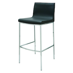 Nuevo Black Leather Colter Counter Stool