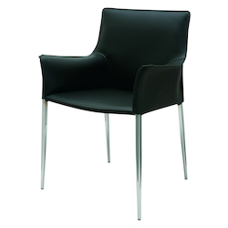 Black Leather Arm Chair Colter Dining Chair