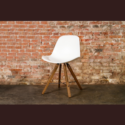 Nuevo White Fumed Oak Shell Dining Chair
