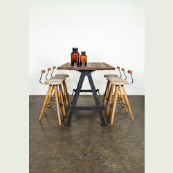 Nuevo Grey Hard Fumed Oak W/ Backrest Theo Bar Stool