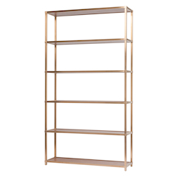 Nuevo Walnut Brass Kaye Shelving Unit