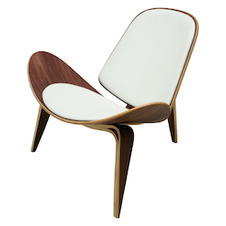 Nuevo White Leather Artemis Lounge Chair