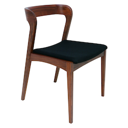 Nuevo Tan Walnut Black Fabric Bjorn Dining Chair