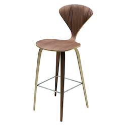Nuevo Walnut American Walnut Satine Counter Stool