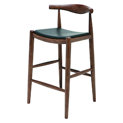 Nuevo Walnut Black Leather Maja Counter Stool
