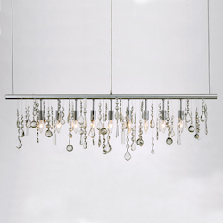 Nuevo Chrome Crystal Linear Pendant Lamp
