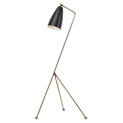 Nuevo Antique Brass Matte Black Lucille Floor Lamp