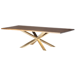 Nuevo Seared Oak Gold Stainless Couture Dining Table