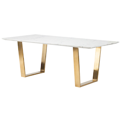 Nuevo White Marble Gold Catrine Dining Table
