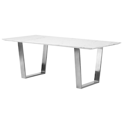 Nuevo White|Stainless Catrine Dining Table