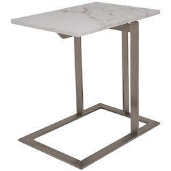 Nuevo White-Brown Marble Dell Side Table