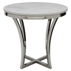 Nuevo White Marble Aurora Side Table