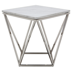 Nuevo White Marble Jasmine Side Table