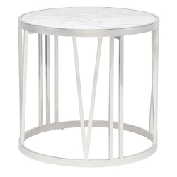 Nuevo White Stainless Roman Side Table