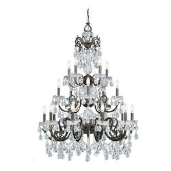Crystorama English Bronze / Clear Italian Legacy 20 Light Triple Tier Adjustable Chandelier