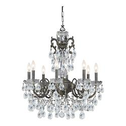 Crystorama English Bronze / Clear Italian Legacy 8 Light Single Tier Adjustable Chandelier