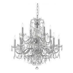Crystorama Polished Chrome / Clear Italian Imperial 12 Light Two Tier Adjustable Chandelier