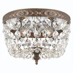 Crystorama English Bronze 2 Light Flush Mount Ceiling Fixture with Crystal shade