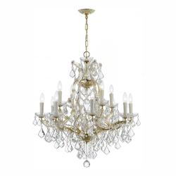 Crystorama Gold / Clear Italian Maria Theresa 13 Light Two Tier Adjustable Chandelier