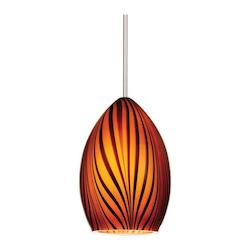WAC US Aurora Monopoint Pendant - Amber Shade With Brushed Nickel Socket Set, Canopy In