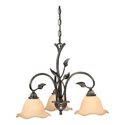 Vaxcel International Vine 3L Chandelier W/ Amber Flake Glass