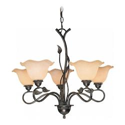 Vaxcel International Vine 5L Chandelier W/ Amber Flake Glass