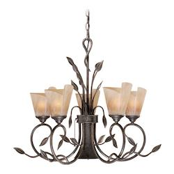 Vaxcel International Capri 6L Chandelier W/ Excavation Glass