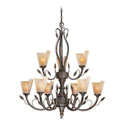 Vaxcel International Capri 9L Chandelier W/ Excavation Glass