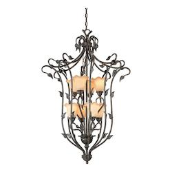 Vaxcel International Vine Foyer Pendant W/ Amber Flake Glass