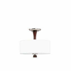 Lumenno Int 2 Light Semi Flush Mount In A Satin Nickel And Redwood Finish