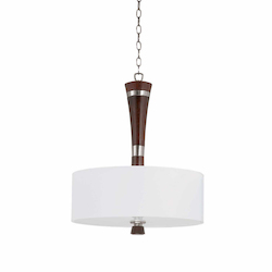 Lumenno Int Bordeaux Collection 3 Light Pendant In A Satin Nickel And Redwood Finish