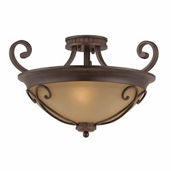 Lumenno Int Budapest Collection (Small) Semi-Flush Mount In A  Bronze Finish