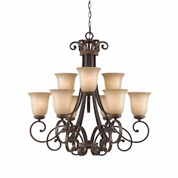 Lumenno Int Series 2 Tier 9 Light Chandelier In A Bronze Finish