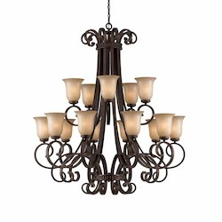Lumenno Int Budapest Collection 15 Light Entryway Chandelier In A Bronze Finish