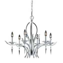 Lumenno Int Paris Collection 6 Light Chandelier In A Polished Chrome Finish