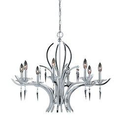 Lumenno Int Paris Collection 8 Light Chandelier In A Polished Chrome Finish