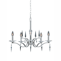 Lumenno Int Silhouette Collection 5 Light Chandelier In A Satin Nickel Finish