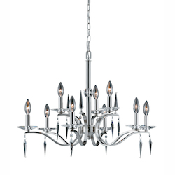Lumenno Int Silhouette Collection 9 Light 2 Tier Chandelier In A Satin Nickel Finish