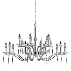Lumenno Int Silhouette Collection 15 Light 2 Tier Chandelier In A Satin Nickel Finish