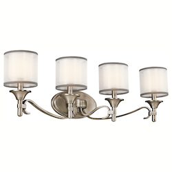 Kichler Antique Pewter Lacey 31In. Wide 4-Bulb Bathroom Lighting Fixture